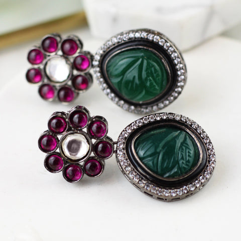 Carved Green Statement Earring