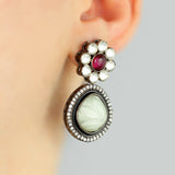 Carved Grey Statement Earring