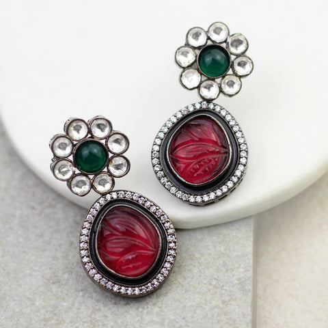 Carved Red Statement Earring
