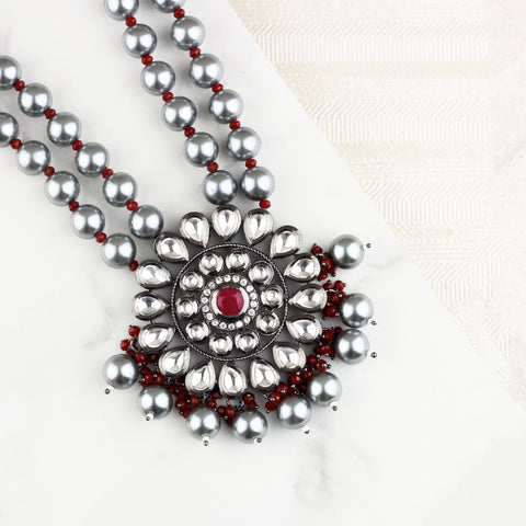 Statement Red Pearl Necklace