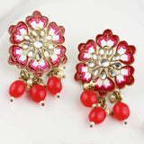Flower Red Drop Earring