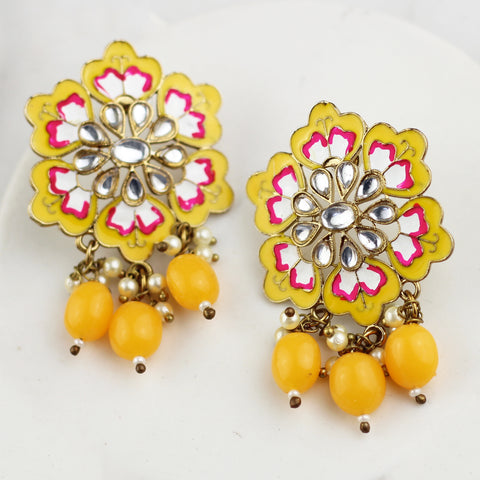 Flower Yellow Drop Earring