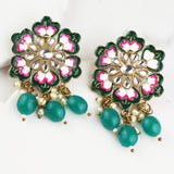 Flower Green Drop Earring