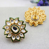 Statement Kundan Flower Stud Earrings