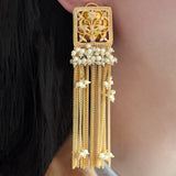 Peacock Tassel Drop Yellow Earrings