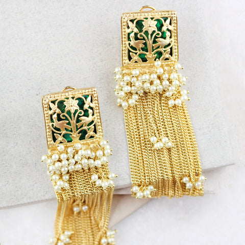 Peacock Tassel Drop Green Earrings