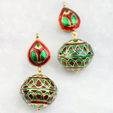 Meenakari Drop Green Earrings