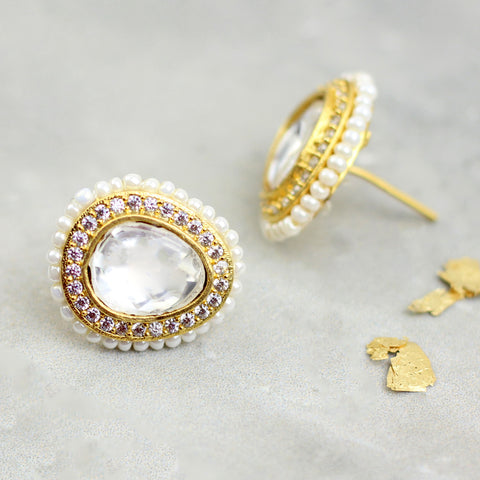 Pearl Kundan Oval Stud Earrings