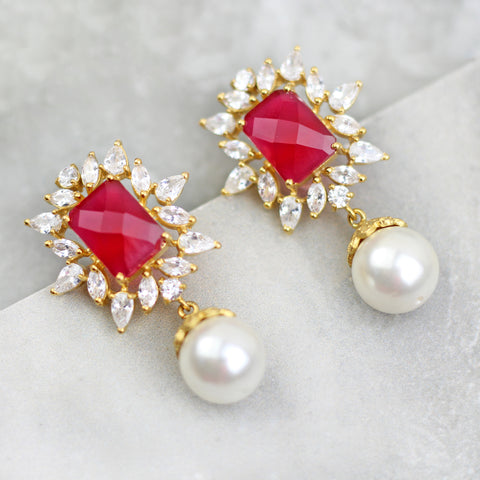 Zircon Drop Red Earrings