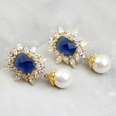 Zircon Drop Blue Earrings