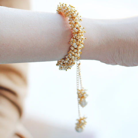 Pearl Cluster Single Bangle