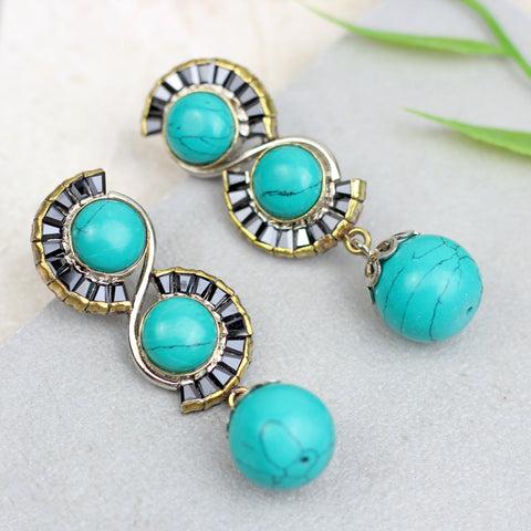 Spiral Turquoise Drop Earrings