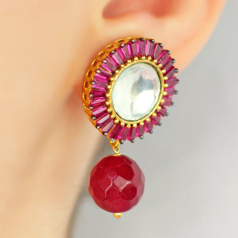 Zircon Pink Drop Earrings