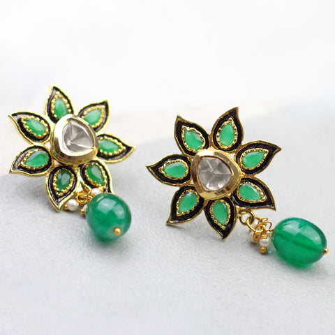 Flower Green Drop Earrings