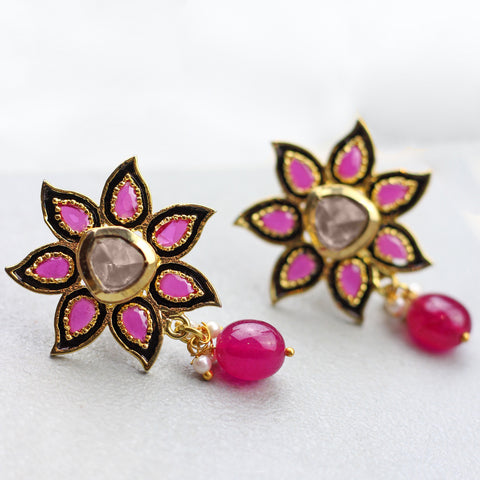 Flower Pink Drop Earrings