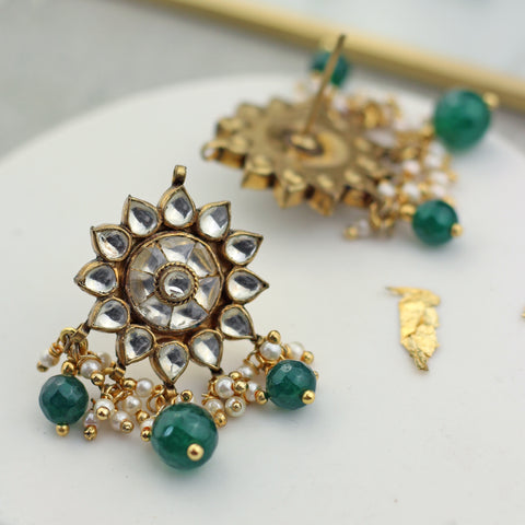 Statement Kundan Green Earring