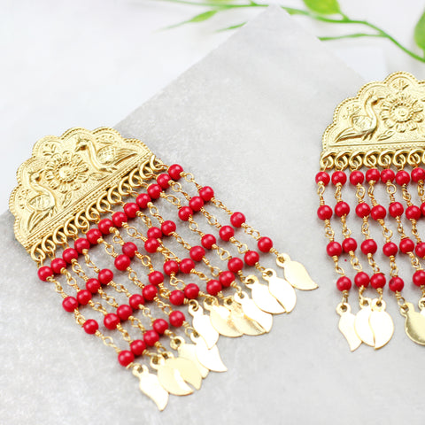 Coral Bead Traditional Tassel Earring