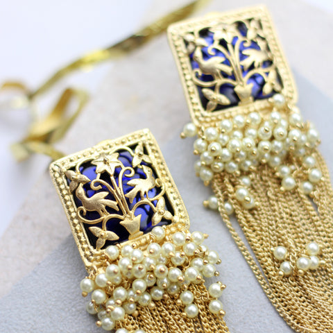 Peacock Tassel Drop Blue Earrings