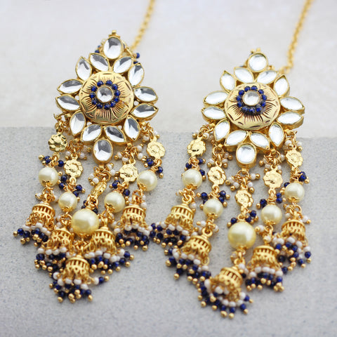 Kundan Statement Blue Drop Earring
