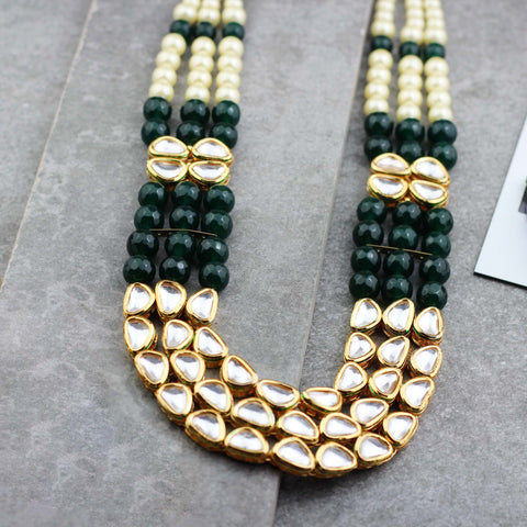 Kundan Green Long Necklace