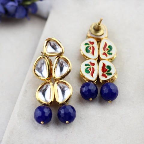 Kundan Blue Drop Earring