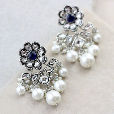 Statement Blue Pearl Drop Earring