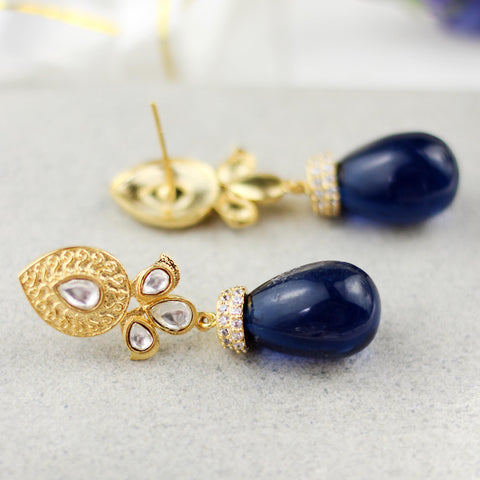 Blue Kundan Drop Earring