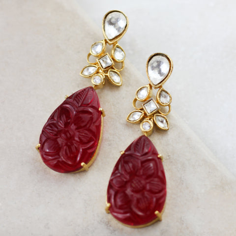 Carved Drop Earring