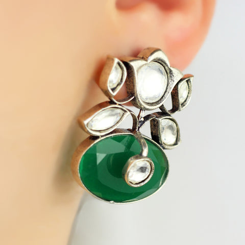 Statement Green Stud Earring