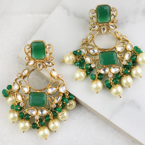 Kundan Green Drop Earring