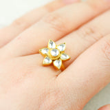 Statement Kundan Flower Ring