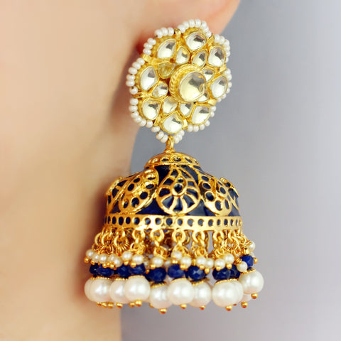 Statement Blue Kundan Jhumke