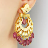 Statement Kundan Drop Earring