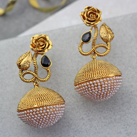 Flower Drop Black Pearl Jhumke