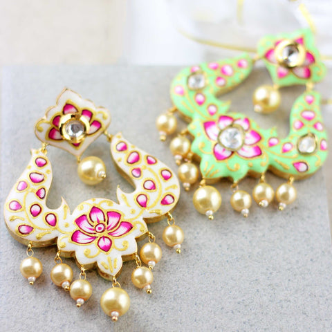 Double Sided White Painted Earring