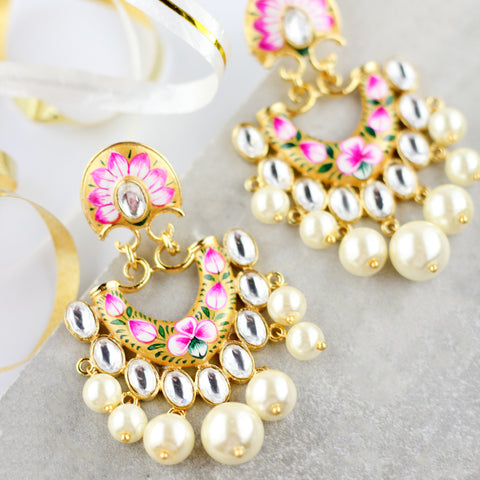 Statement Hand Painted Pearl Gold Earring