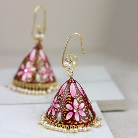 Gold Pearl Drop Tassel Earrings