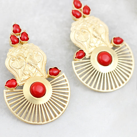 Geometric Peacock Drop Red Earrings