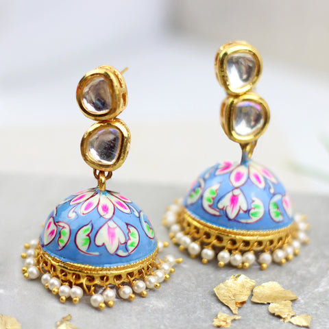 Blue Kundan Hand Painted Jhumke Earrings