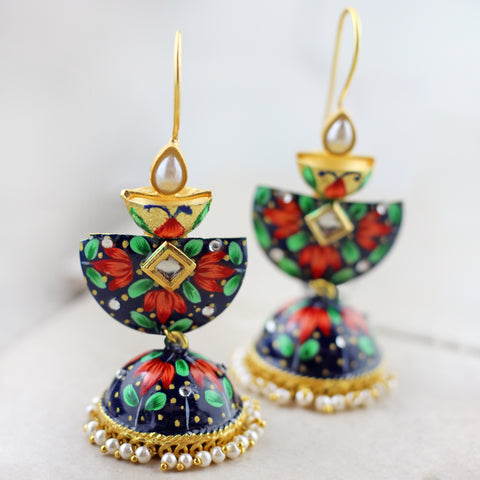 Three Tier Painted Drop Jhumke