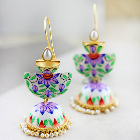 Three Tier Purple Drop Jhumke