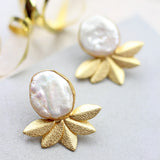 White Half Flower Stud Earrings