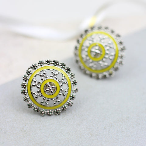 Floral Yellow Stud Earring