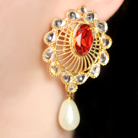 Pearl Drop Red Earrings