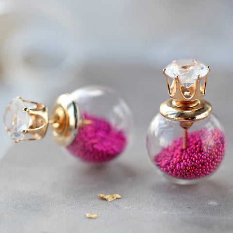 Pink Bauble Two Way Earrings