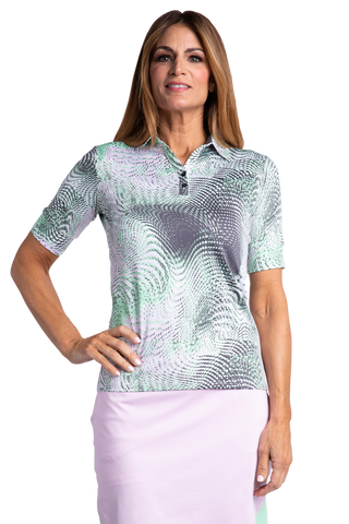 Alicia Elbow Sleeve Print Polo