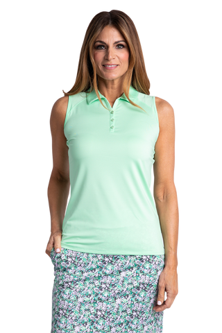 Hailey Sleeveless Polo - Neo Mint