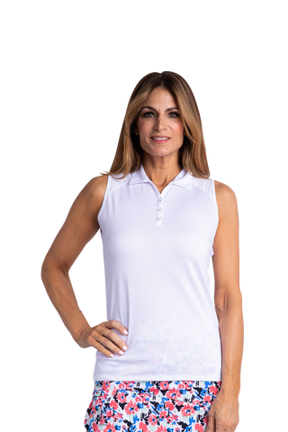 Hailey Sleeveless Polo - White