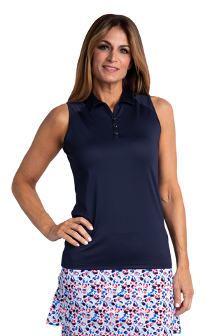 Hailey Sleeveless Polo - Navy