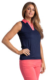 Adira Sleeveless Colorblock Polo